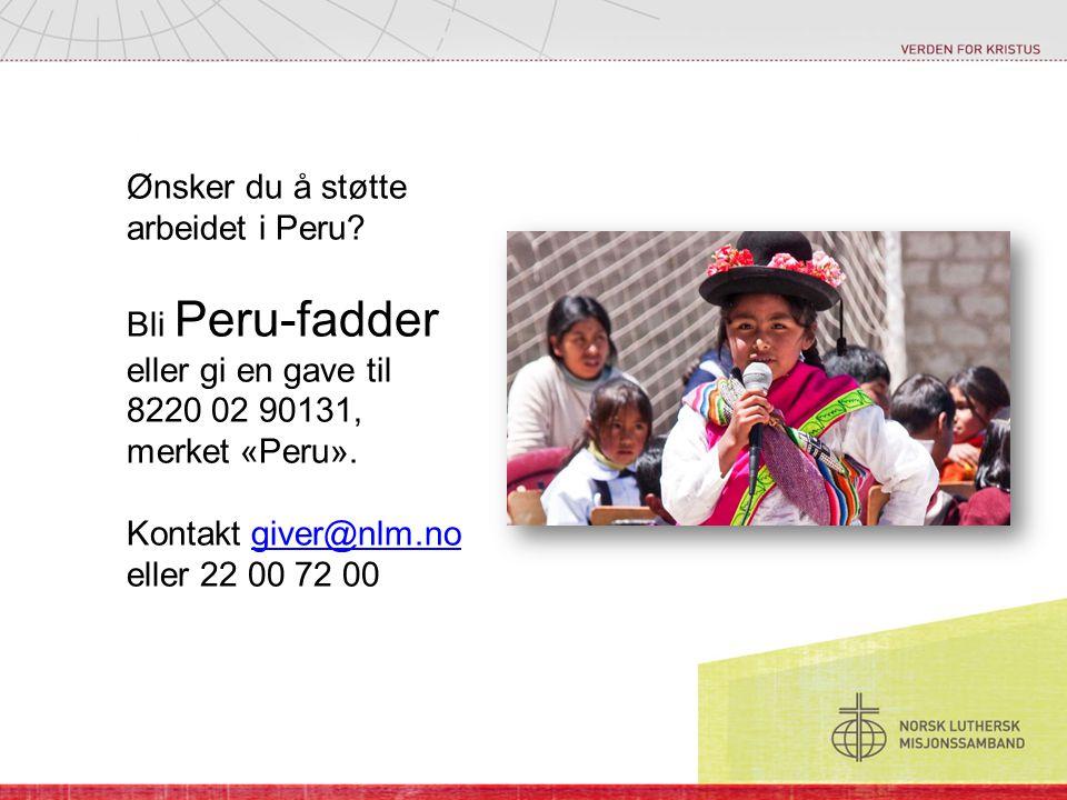 Ønsker du å støtte arbeidet i Peru? Bli Peru-fadder eller gi en gave til 8220 02 90131, merket «Peru». Kontakt giver@nlm.no eller 22 00 72 00giver@nlm
