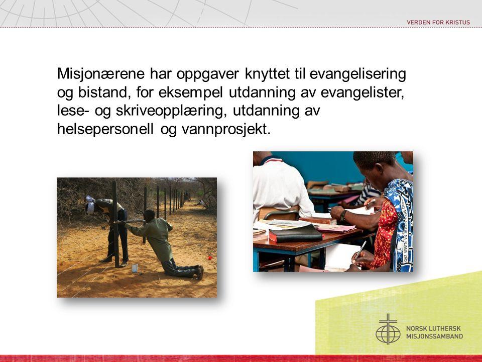 Misjonærene har oppgaver knyttet til evangelisering og bistand, for eksempel utdanning av evangelister, lese- og skriveopplæring, utdanning av helsepe
