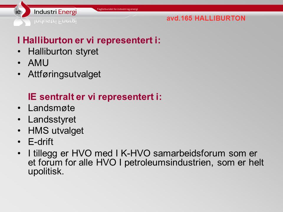 avd.165 HALLIBURTON I Halliburton er vi representert i: Halliburton styret AMU Attføringsutvalget IE sentralt er vi representert i: Landsmøte Landssty