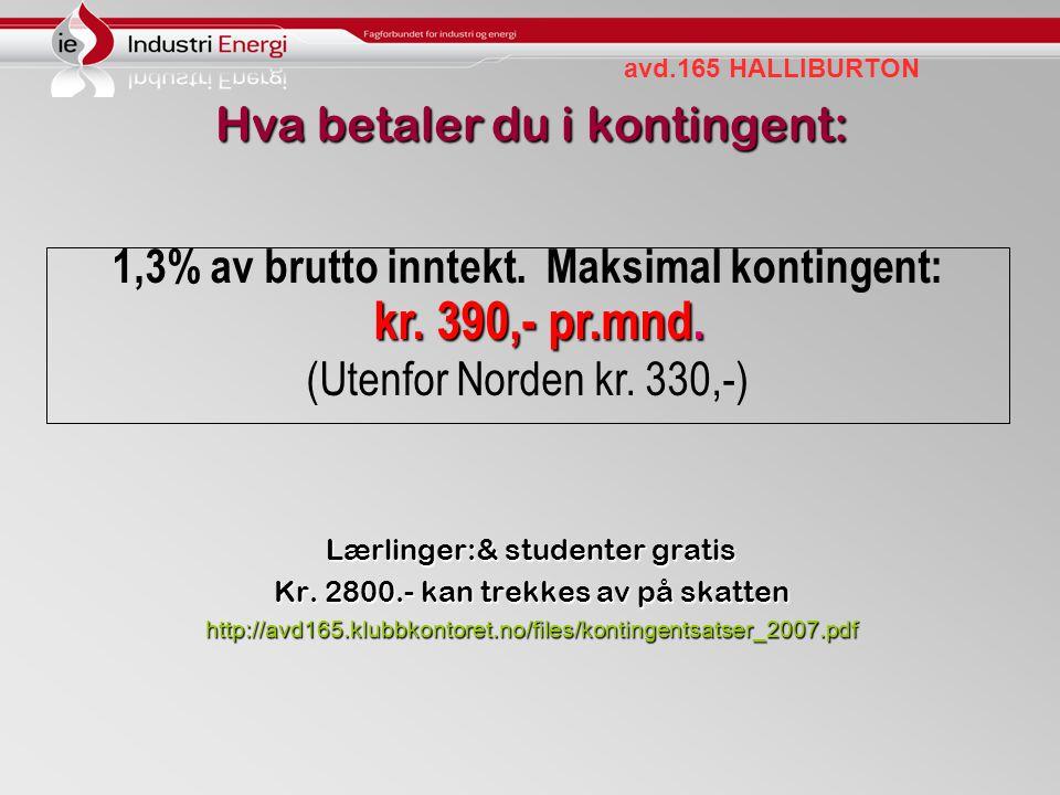avd.165 HALLIBURTON Hva betaler du i kontingent: Lærlinger:& studenter gratis Kr. 2800.- kan trekkes av på skatten http://avd165.klubbkontoret.no/file