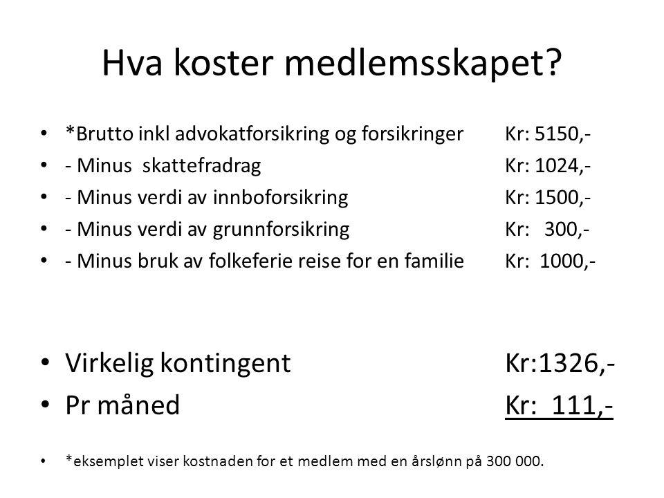 Hva koster medlemsskapet.11.05.2005 *Tjener 7000 kr.