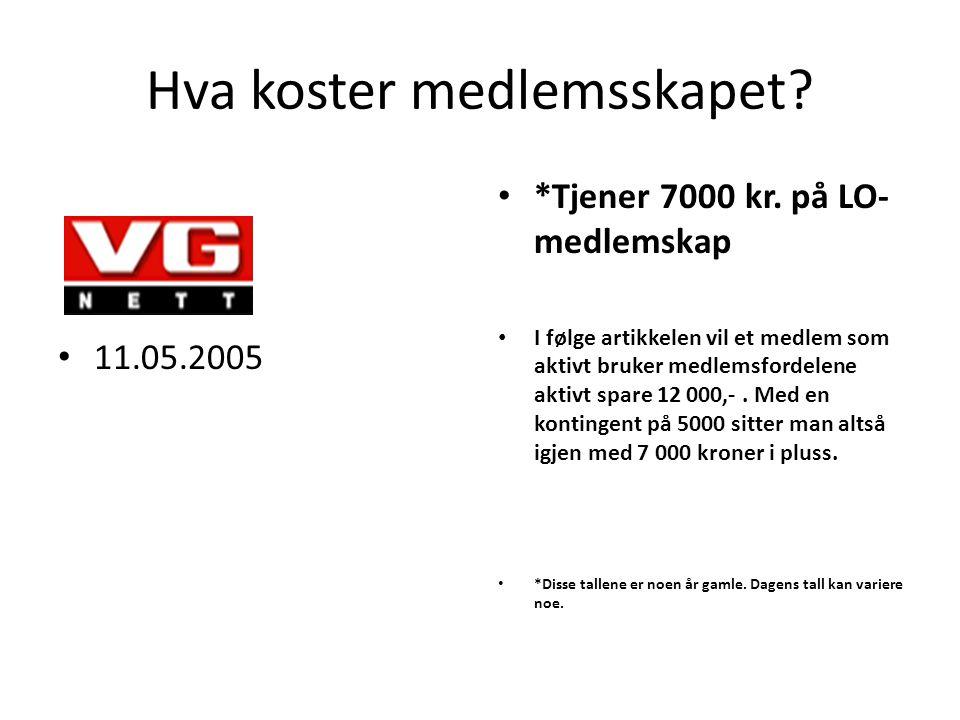 Hva koster medlemsskapet. 11.05.2005 *Tjener 7000 kr.