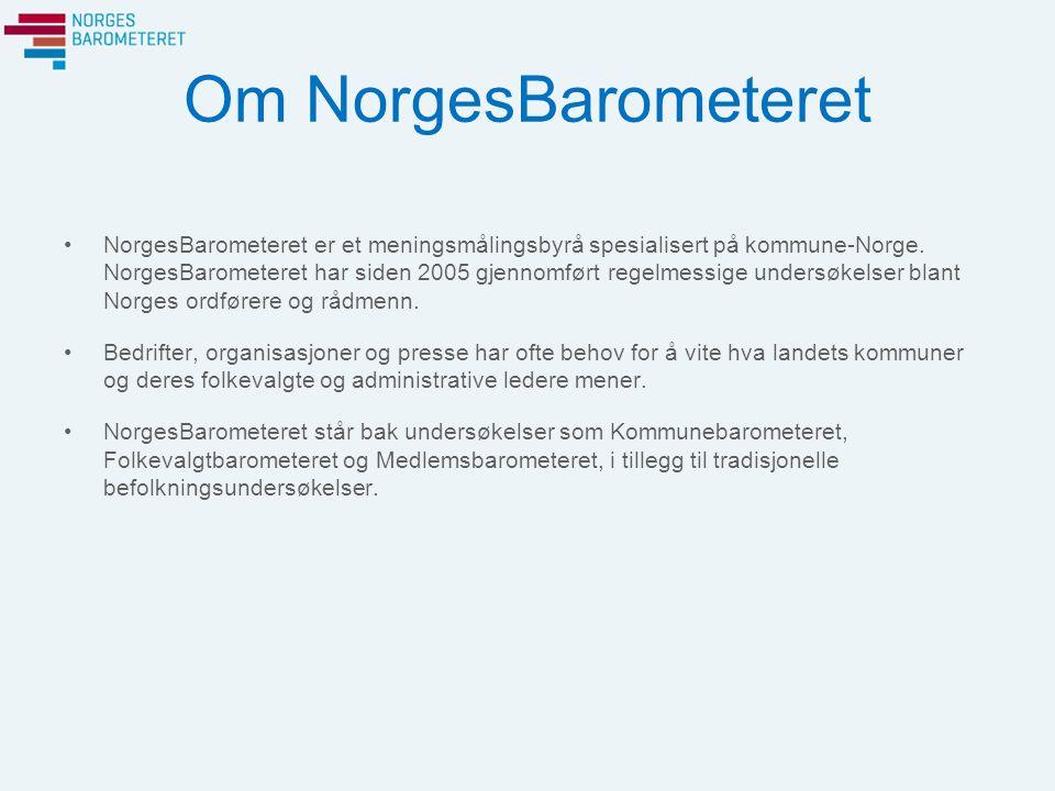 Om NorgesBarometeret NorgesBarometeret er et meningsmålingsbyrå spesialisert på kommune-Norge. NorgesBarometeret har siden 2005 gjennomført regelmessi