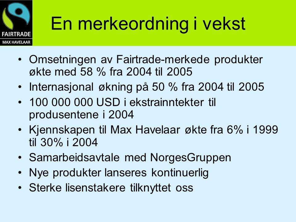 En merkeordning i vekst Omsetningen av Fairtrade-merkede produkter økte med 58 % fra 2004 til 2005 Internasjonal økning på 50 % fra 2004 til 2005 100