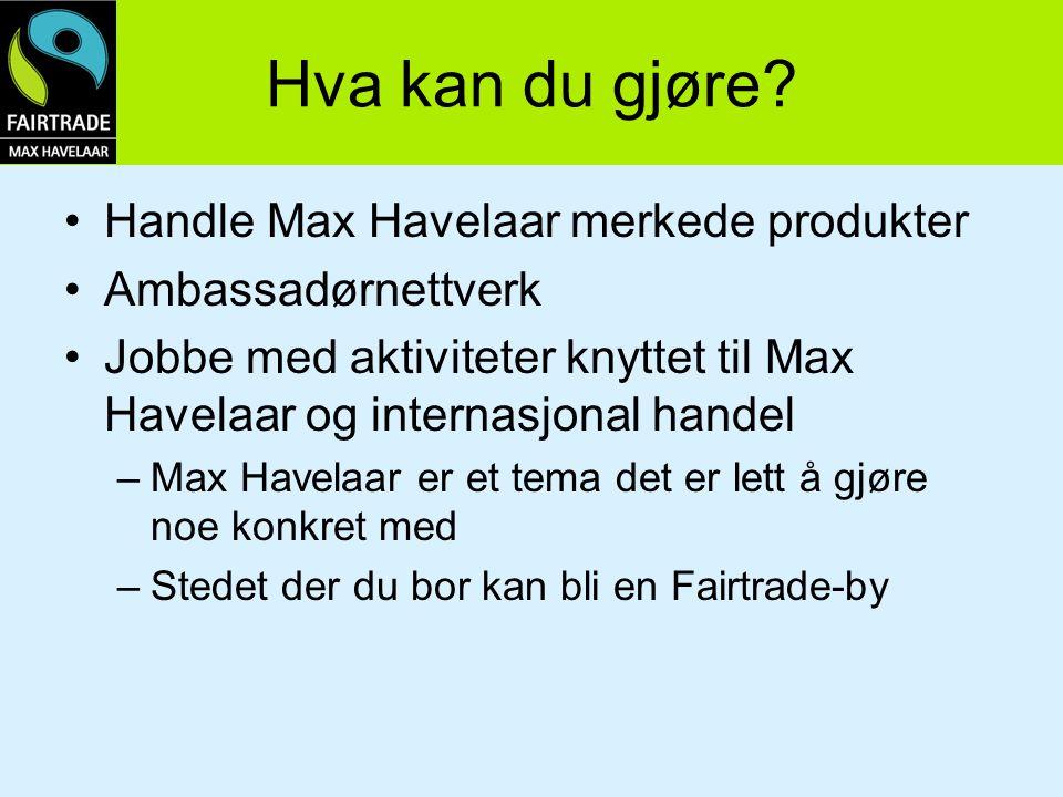 Hva kan du gjøre? Handle Max Havelaar merkede produkter Ambassadørnettverk Jobbe med aktiviteter knyttet til Max Havelaar og internasjonal handel –Max