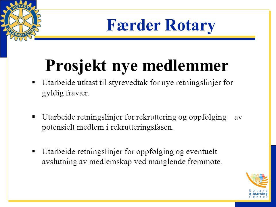 Færder Rotary Prosjekt nye medlemmer  Utarbeide utkast til styrevedtak for nye retningslinjer for gyldig fravær.