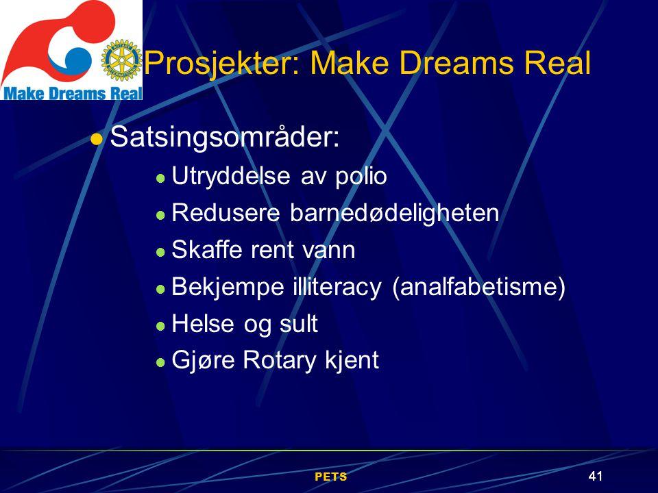 PETS 41 Satsingsområder: Utryddelse av polio Redusere barnedødeligheten Skaffe rent vann Bekjempe illiteracy (analfabetisme) Helse og sult Gjøre Rotary kjent Prosjekter: Make Dreams Real