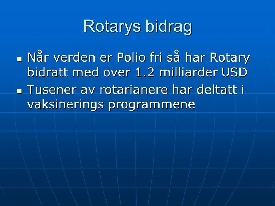 Rotarys bidrag Når verden er Polio fri så har Rotary bidratt med over 1.2 milliarder USD Når verden er Polio fri så har Rotary bidratt med over 1.2 milliarder USD Tusener av rotarianere har deltatt i vaksinerings programmene Tusener av rotarianere har deltatt i vaksinerings programmene
