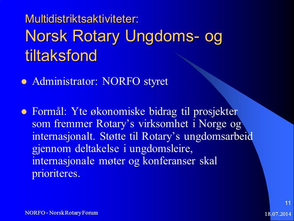 18.07.2014 NORFO - Norsk Rotary Forum 11 Multidistriktsaktiviteter: Norsk Rotary Ungdoms- og tiltaksfond Administrator: NORFO styret Formål: Yte økonomiske bidrag til prosjekter som fremmer Rotary's virksomhet i Norge og internasjonalt.