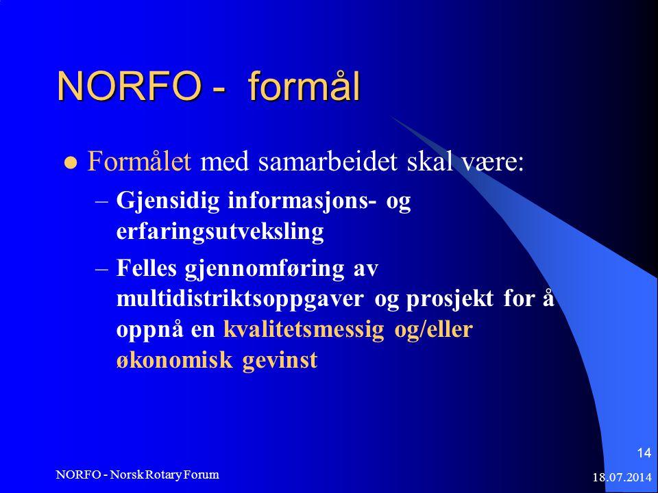 18.07.2014 NORFO - Norsk Rotary Forum 14 NORFO - formål Formålet med samarbeidet skal være: –Gjensidig informasjons- og erfaringsutveksling –Felles gjennomføring av multidistriktsoppgaver og prosjekt for å oppnå en kvalitetsmessig og/eller økonomisk gevinst