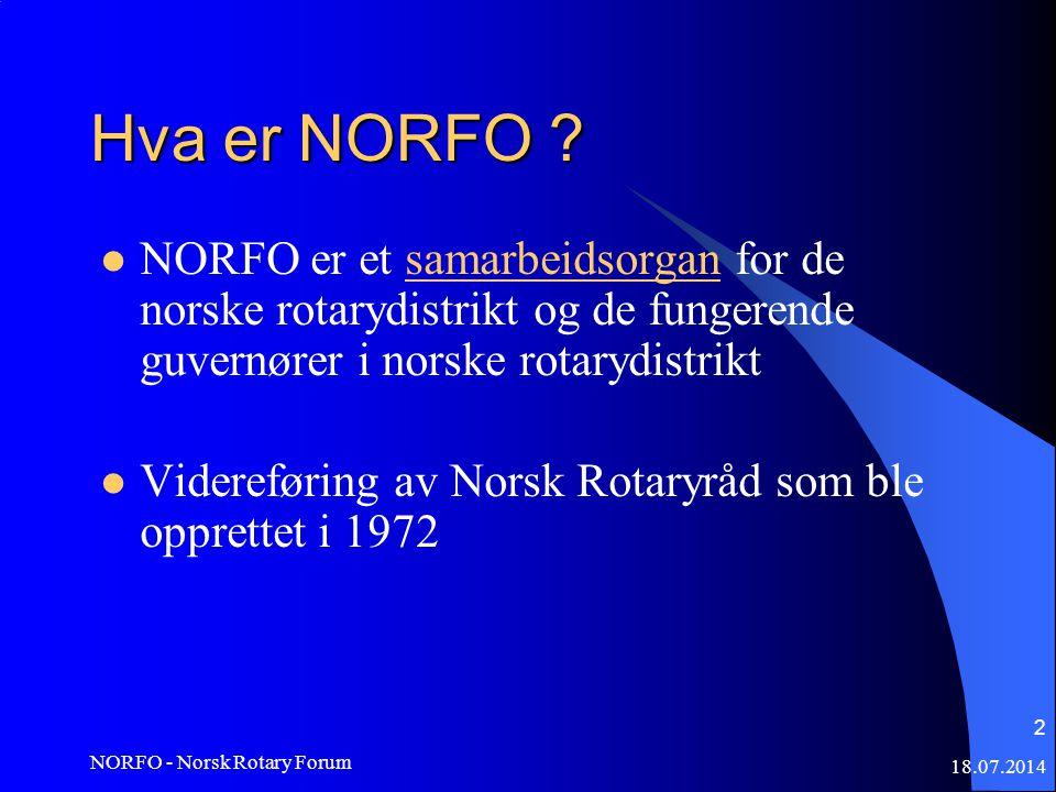 18.07.2014 NORFO - Norsk Rotary Forum 2 Hva er NORFO .