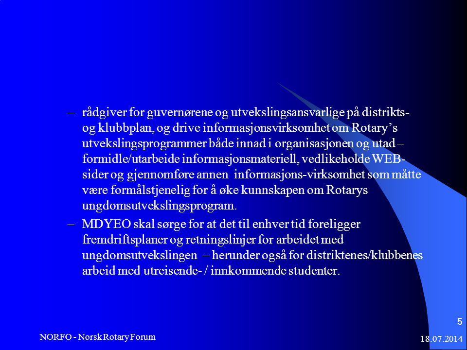 18.07.2014 NORFO - Norsk Rotary Forum 5 –rådgiver for guvernørene og utvekslingsansvarlige på distrikts- og klubbplan, og drive informasjonsvirksomhet om Rotary's utvekslingsprogrammer både innad i organisasjonen og utad – formidle/utarbeide informasjonsmateriell, vedlikeholde WEB- sider og gjennomføre annen informasjons-virksomhet som måtte være formålstjenelig for å øke kunnskapen om Rotarys ungdomsutvekslingsprogram.