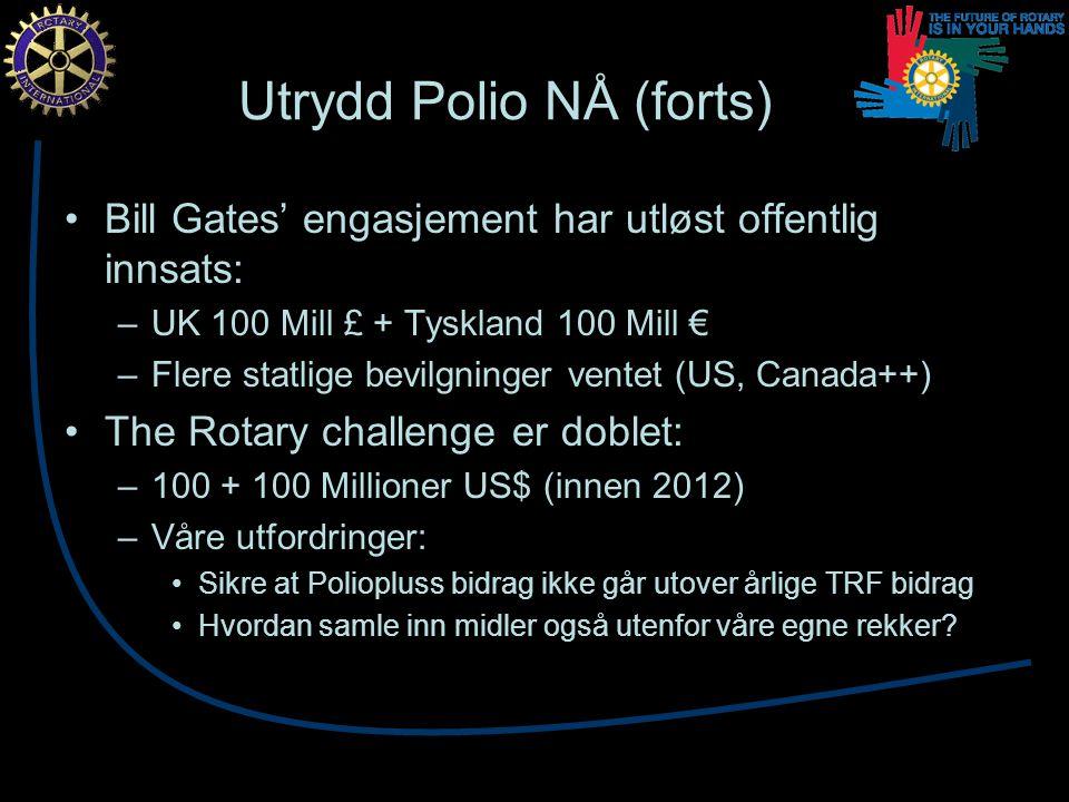 Utrydd Polio NÅ (forts) Bill Gates' engasjement har utløst offentlig innsats: –UK 100 Mill £ + Tyskland 100 Mill € –Flere statlige bevilgninger ventet (US, Canada++) The Rotary challenge er doblet: –100 + 100 Millioner US$ (innen 2012) –Våre utfordringer: Sikre at Poliopluss bidrag ikke går utover årlige TRF bidrag Hvordan samle inn midler også utenfor våre egne rekker
