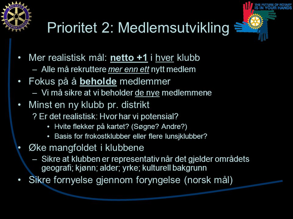 Prioritet 2: Medlemsutvikling Mer realistisk mål: netto +1 i hver klubb –Alle må rekruttere mer enn ett nytt medlem Fokus på å beholde medlemmer –Vi må sikre at vi beholder de nye medlemmene Minst en ny klubb pr.