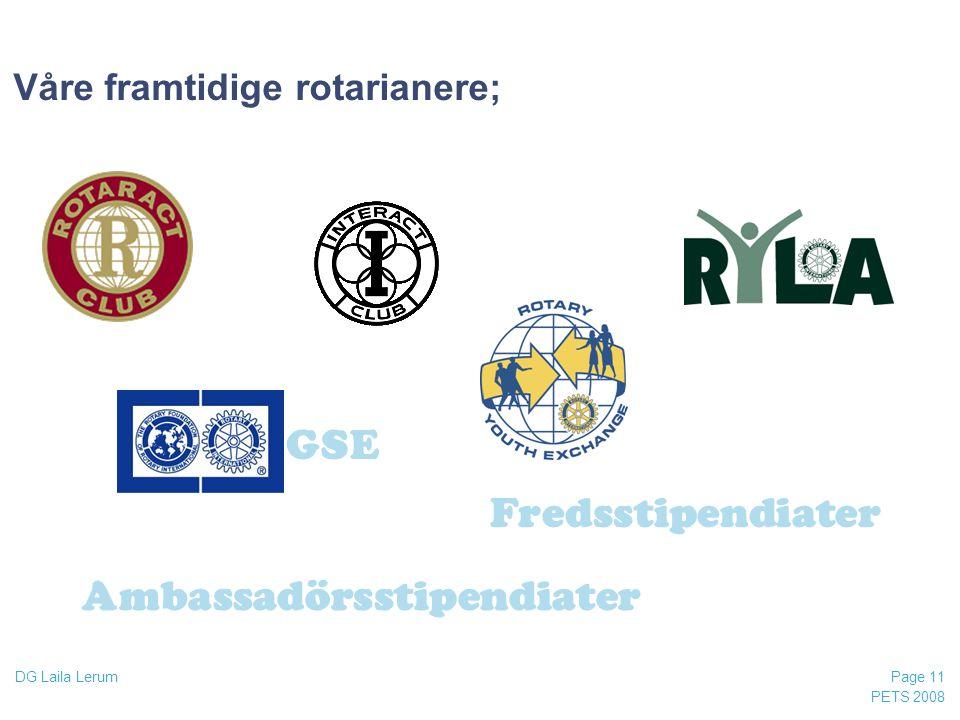 PETS 2008 Page 11 DG Laila Lerum Våre framtidige rotarianere; Ambassadörsstipendiater GSE Fredsstipendiater