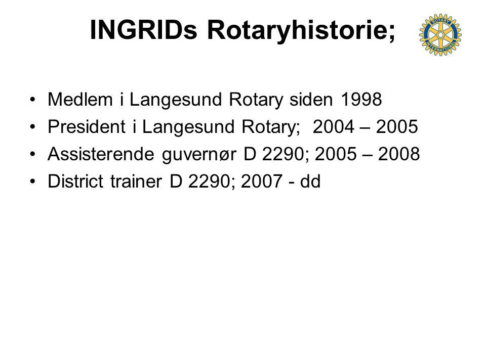 INGRIDs Rotaryhistorie; Medlem i Langesund Rotary siden 1998 President i Langesund Rotary; 2004 – 2005 Assisterende guvernør D 2290; 2005 – 2008 Distr