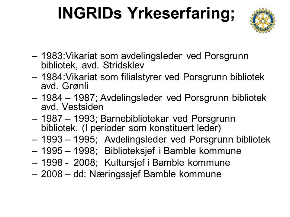 INGRIDs Yrkeserfaring; –1983:Vikariat som avdelingsleder ved Porsgrunn bibliotek, avd. Stridsklev –1984:Vikariat som filialstyrer ved Porsgrunn biblio