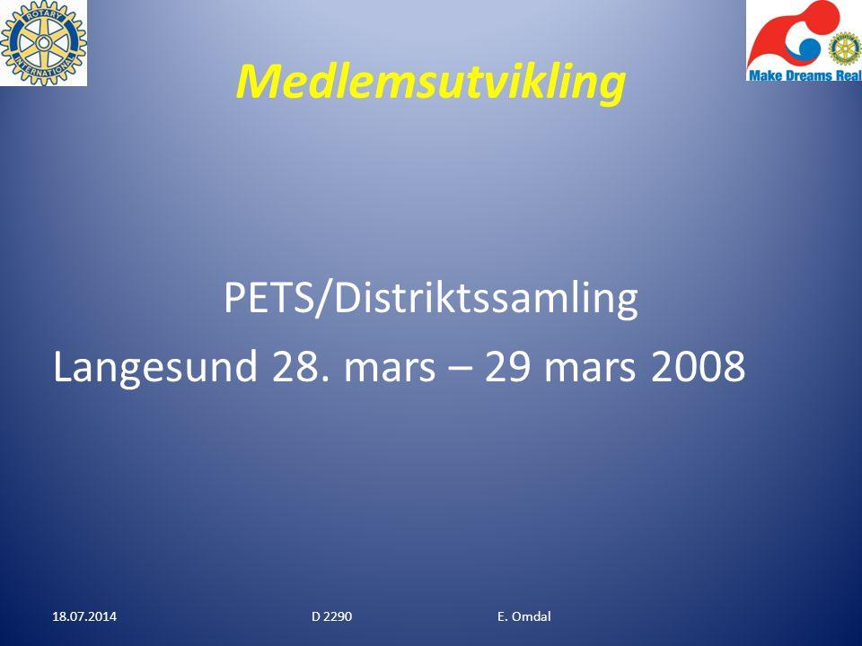 Medlemsutvikling PETS/Distriktssamling Langesund 28. mars – 29 mars 2008 18.07.2014D 2290 E. Omdal