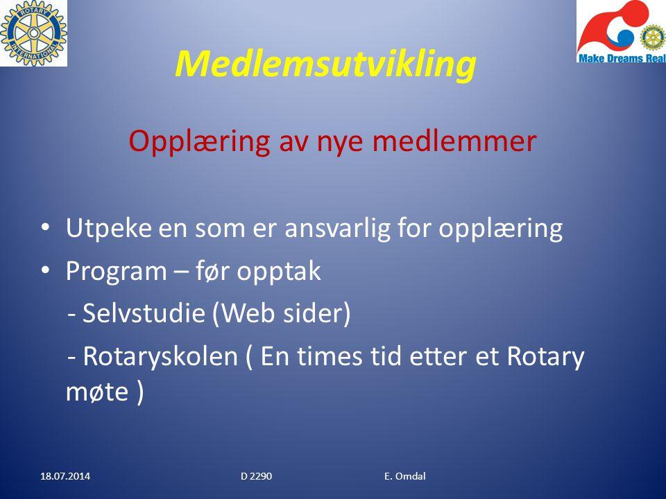 Medlemsutvikling Klubber under 30 medlemmer Borre Bø Grenland Horten Kvinesdal Lyngdal Lågendalen Re Tvedestrand Vennesla 18.07.2014D 2290 E.