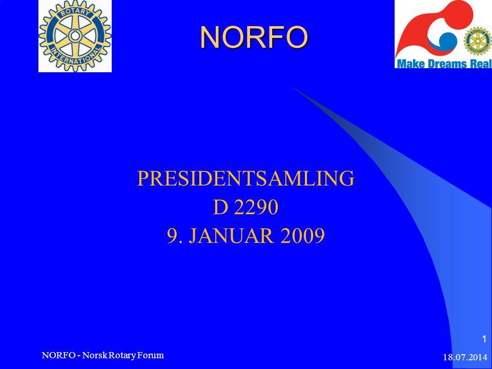 NORFO PRESIDENTSAMLING D 2290 9. JANUAR 2009 18.07.2014 NORFO - Norsk Rotary Forum 1