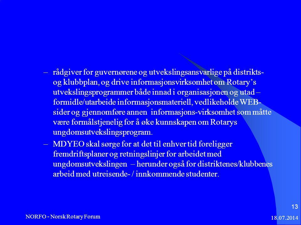 18.07.2014 NORFO - Norsk Rotary Forum 13 –rådgiver for guvernørene og utvekslingsansvarlige på distrikts- og klubbplan, og drive informasjonsvirksomhet om Rotary's utvekslingsprogrammer både innad i organisasjonen og utad – formidle/utarbeide informasjonsmateriell, vedlikeholde WEB- sider og gjennomføre annen informasjons-virksomhet som måtte være formålstjenelig for å øke kunnskapen om Rotarys ungdomsutvekslingsprogram.