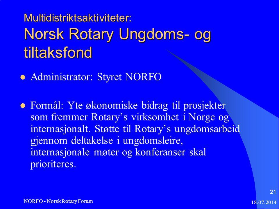 18.07.2014 NORFO - Norsk Rotary Forum 21 Multidistriktsaktiviteter: Norsk Rotary Ungdoms- og tiltaksfond Administrator: Styret NORFO Formål: Yte økonomiske bidrag til prosjekter som fremmer Rotary's virksomhet i Norge og internasjonalt.
