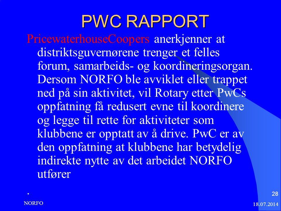 PWC RAPPORT PricewaterhouseCoopers anerkjenner at distriktsguvernørene trenger et felles forum, samarbeids- og koordineringsorgan.