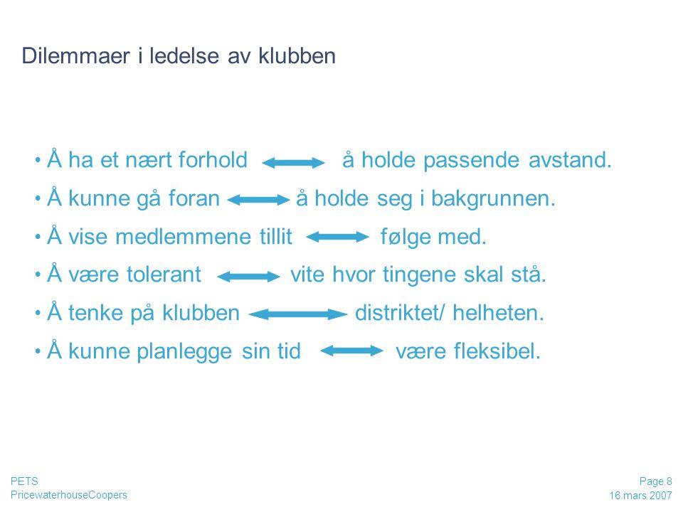PricewaterhouseCoopers 16.mars 2007 Page 8 PETS Dilemmaer i ledelse av klubben Å ha et nært forhold å holde passende avstand.