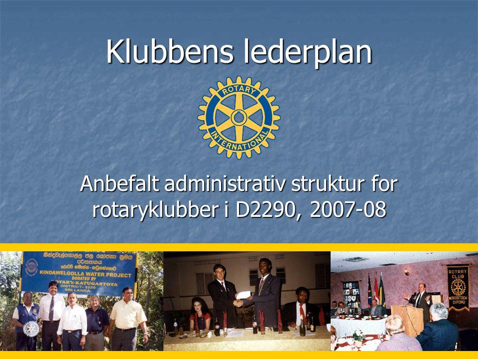 1 Klubbens lederplan Anbefalt administrativ struktur for rotaryklubber i D2290, 2007-08