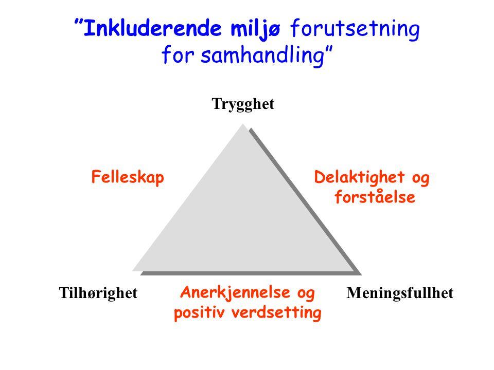 Trygghet TilhørighetMeningsfullhet Anerkjennelse og positiv verdsetting FelleskapDelaktighet og forståelse Inkluderende miljø forutsetning for samhandling