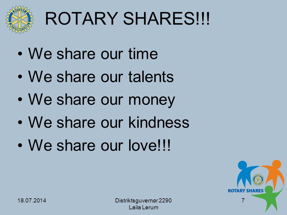18.07.2014Distriktsguvernør 2290 Laila Lerum 8 Rotary Shares!!.