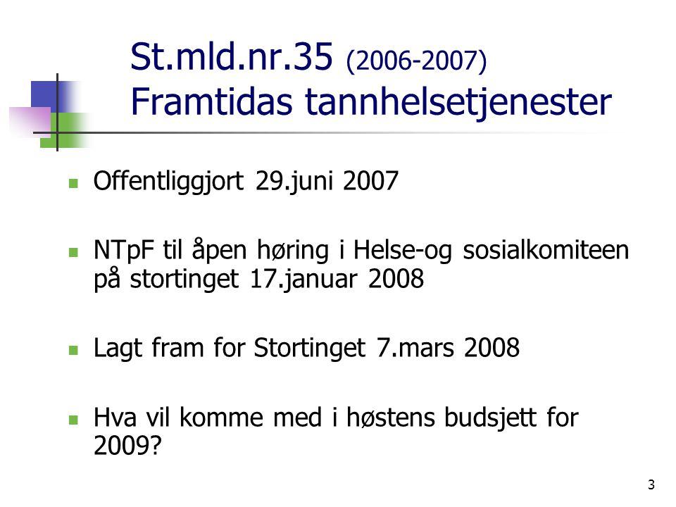 3 St.mld.nr.35 (2006-2007) Framtidas tannhelsetjenester Offentliggjort 29.juni 2007 NTpF til åpen høring i Helse-og sosialkomiteen på stortinget 17.januar 2008 Lagt fram for Stortinget 7.mars 2008 Hva vil komme med i høstens budsjett for 2009?