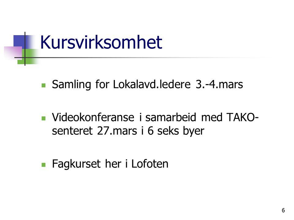6 Kursvirksomhet Samling for Lokalavd.ledere 3.-4.mars Videokonferanse i samarbeid med TAKO- senteret 27.mars i 6 seks byer Fagkurset her i Lofoten