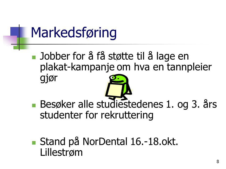 8 Markedsføring Jobber for å få støtte til å lage en plakat-kampanje om hva en tannpleier gjør Besøker alle studiestedenes 1.