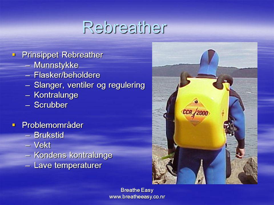 Breathe Easy www.breatheeasy.co.nr Rebreather  Prinsippet Rebreather –Munnstykke –Flasker/beholdere –Slanger, ventiler og regulering –Kontralunge –Scrubber  Problemområder –Brukstid –Vekt –Kondens kontralunge –Lave temperaturer