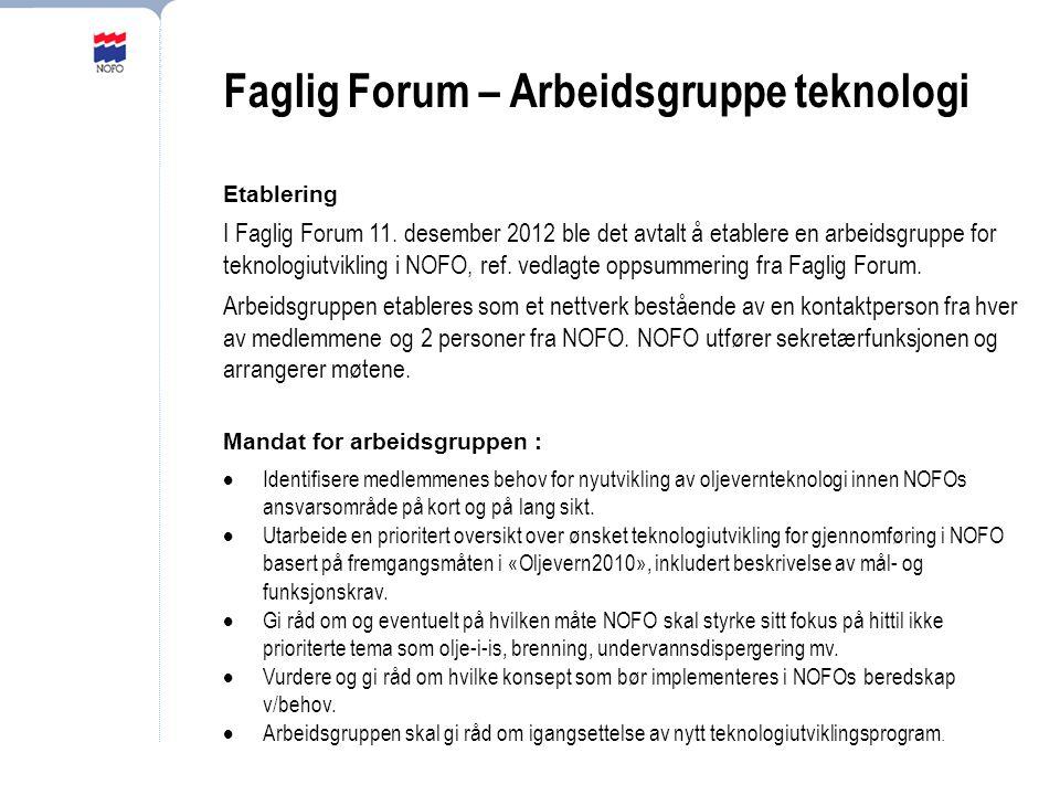 Faglig Forum – Arbeidsgruppe teknologi Etablering I Faglig Forum 11.