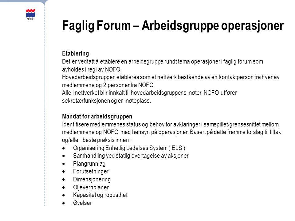 Faglig Forum – Arbeidsgruppe operasjoner Etablering Det er vedtatt å etablere en arbeidsgruppe rundt tema operasjoner i faglig forum som avholdes i re