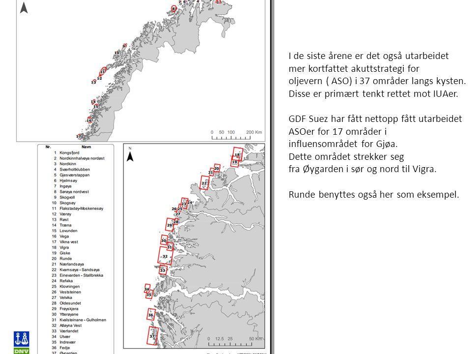 I de siste årene er det også utarbeidet mer kortfattet akuttstrategi for oljevern ( ASO) i 37 områder langs kysten. Disse er primært tenkt rettet mot