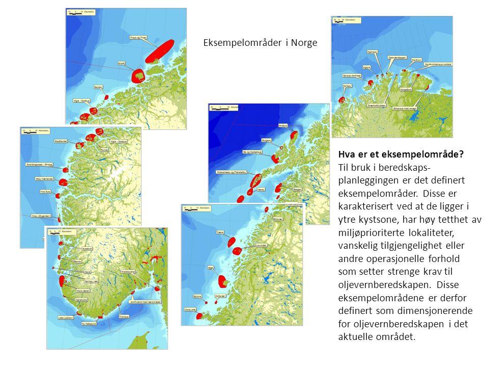 Eksempelområder i Norge Hva er et eksempelområde? Til bruk i beredskaps- planleggingen er det definert eksempelområder. Disse er karakterisert ved at