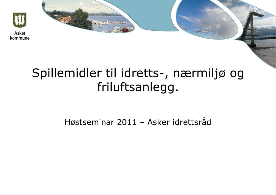 Spillemidler til idretts-, nærmiljø og friluftsanlegg. Høstseminar 2011 – Asker idrettsråd