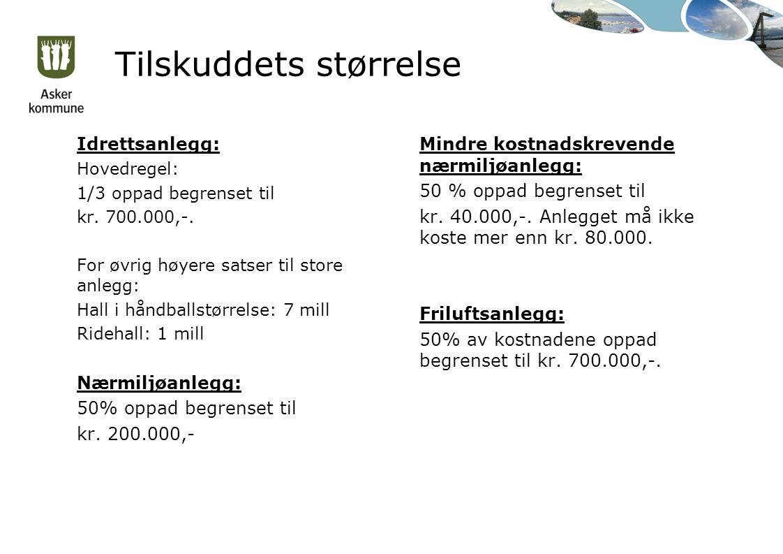 Tilskuddets størrelse Idrettsanlegg: Hovedregel: 1/3 oppad begrenset til kr.