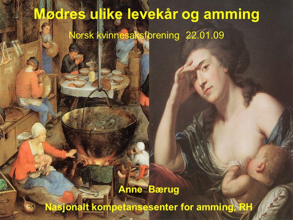Mødres ulike levekår og amming Norsk kvinnesaksforening 22.01.09 Anne Bærug Nasjonalt kompetansesenter for amming, RH