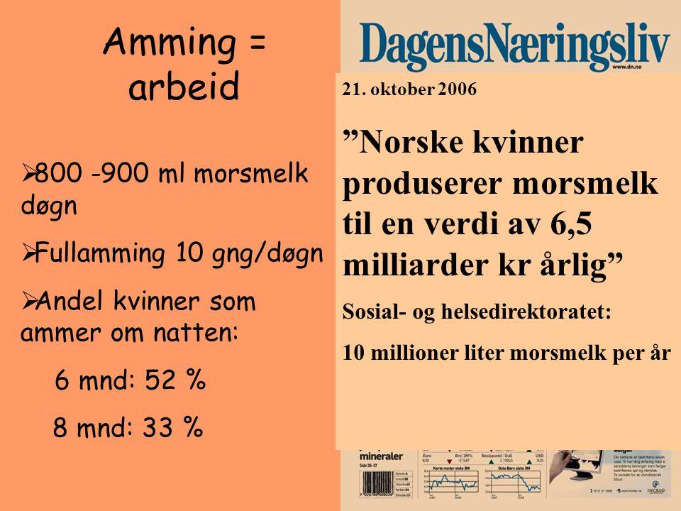 """Amming = arbeid 21. oktober 2006 """"Norske kvinner produserer morsmelk til en verdi av 6,5 milliarder kr årlig"""" Sosial- og helsedirektoratet: 10 million"""