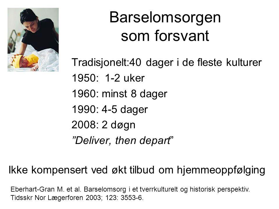 """Barselomsorgen som forsvant Tradisjonelt:40 dager i de fleste kulturer 1950: 1-2 uker 1960: minst 8 dager 1990: 4-5 dager 2008: 2 døgn """"Deliver, then"""