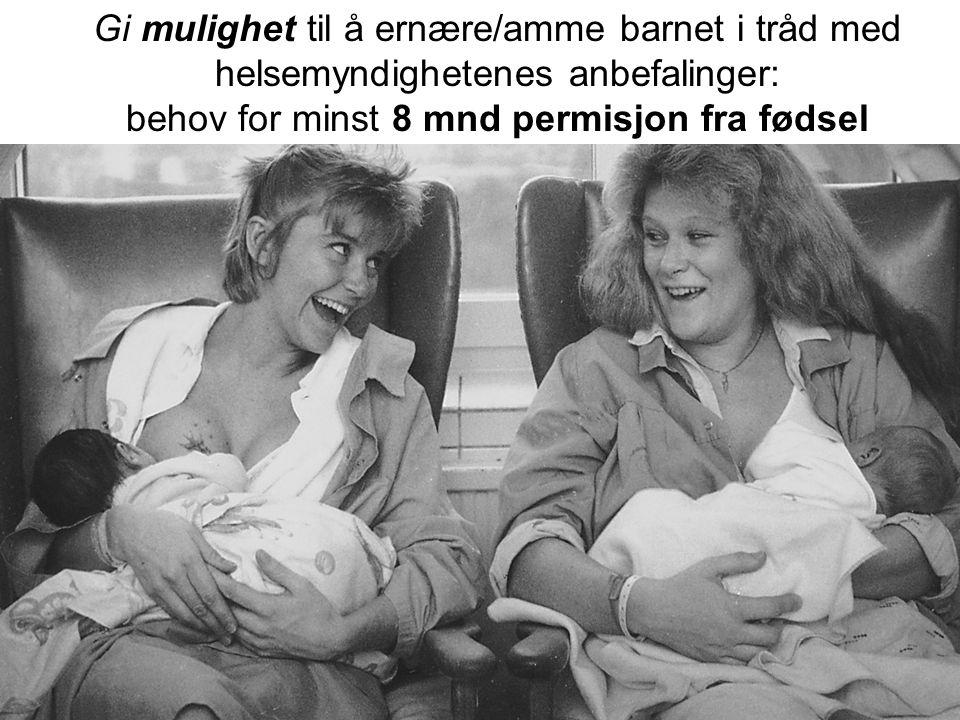 Gi mulighet til å ernære/amme barnet i tråd med helsemyndighetenes anbefalinger: behov for minst 8 mnd permisjon fra fødsel