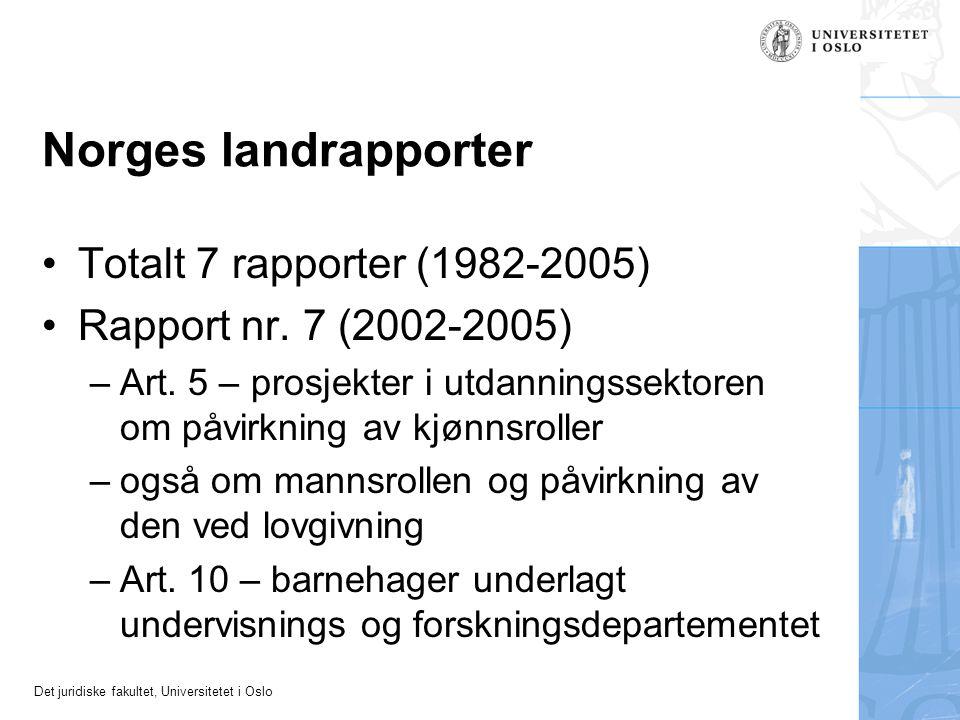 Det juridiske fakultet, Universitetet i Oslo Norges landrapporter Totalt 7 rapporter (1982-2005) Rapport nr. 7 (2002-2005) –Art. 5 – prosjekter i utda