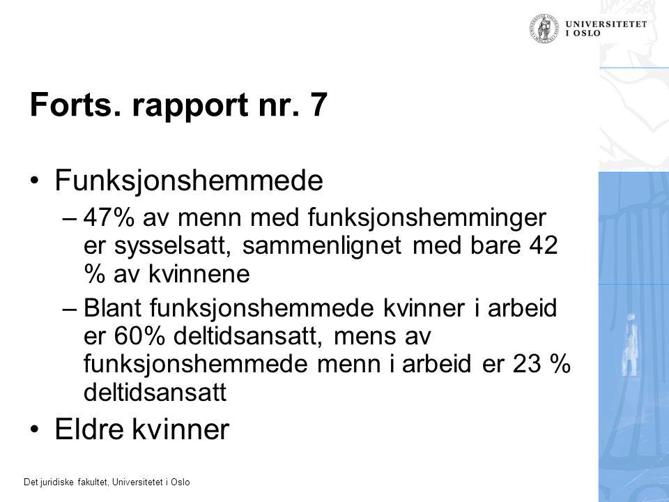 Det juridiske fakultet, Universitetet i Oslo Forts. rapport nr. 7 Funksjonshemmede –47% av menn med funksjonshemminger er sysselsatt, sammenlignet med