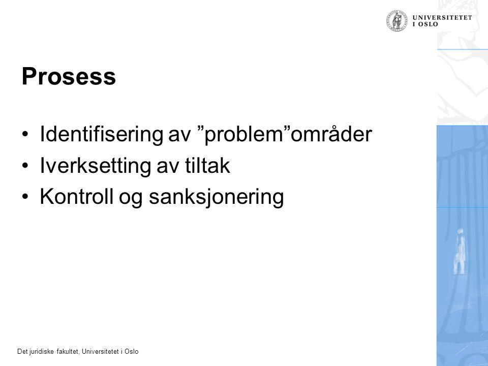 """Det juridiske fakultet, Universitetet i Oslo Prosess Identifisering av """"problem""""områder Iverksetting av tiltak Kontroll og sanksjonering"""