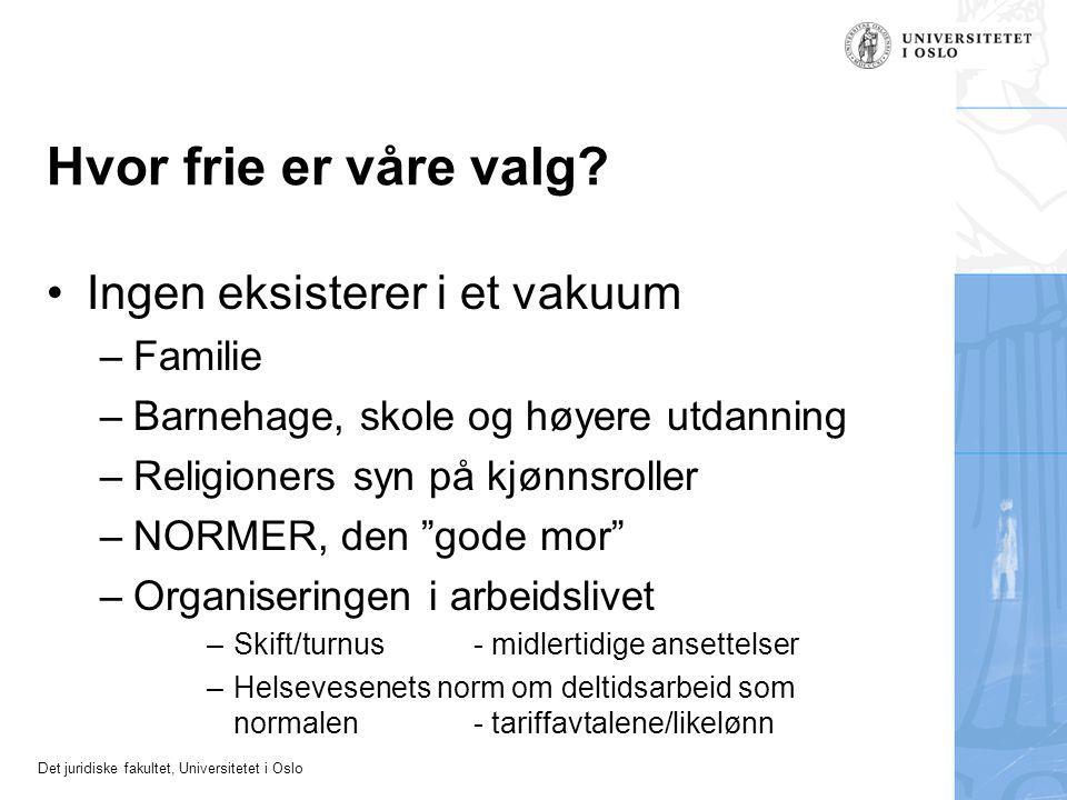 Det juridiske fakultet, Universitetet i Oslo Hvor frie er våre valg? Ingen eksisterer i et vakuum –Familie –Barnehage, skole og høyere utdanning –Reli