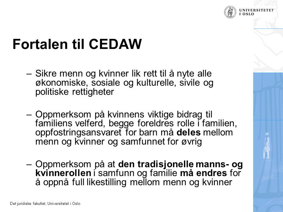 Det juridiske fakultet, Universitetet i Oslo Fortalen til CEDAW –Sikre menn og kvinner lik rett til å nyte alle økonomiske, sosiale og kulturelle, siv